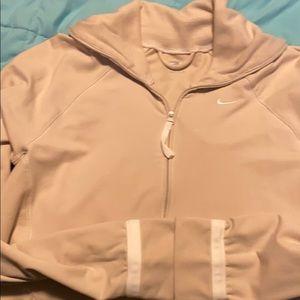 Nike zip up sweatshirt tan/white